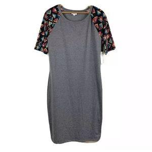 LULAROE Julia Gray Short Sleeve Dress Casual L NWT
